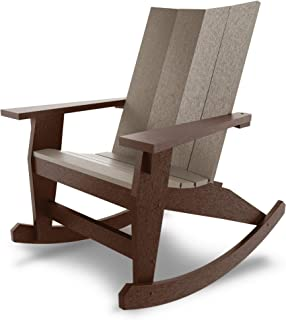 product image for Hatteras Hammocks Chocolate and Weatherwood Adirondack Rocker, Eco-Friendly Durawood, All Weather Resistance, Fit 'N' Finish Handcrafted in The USA