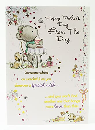 To Mum Happy Mothers Day From The Dog Greeting Card Verse Cute Pets Poem Modern