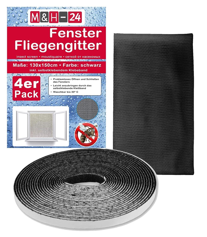 Klettband Insektenschutz 2x Premium Fliegengitter 130 x 150cm schwarz