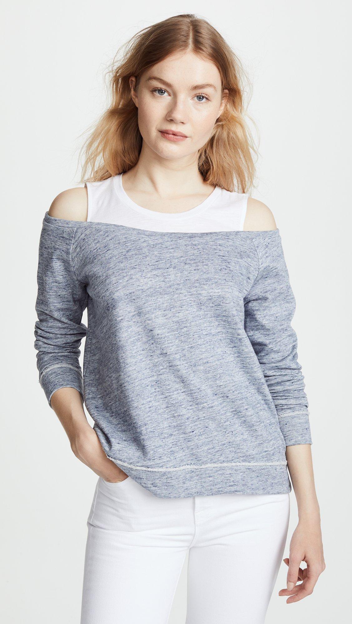Generation Love Women's Roni Double Layered Sweatshirt, Heather Blue, Small by Generation Love (Image #2)