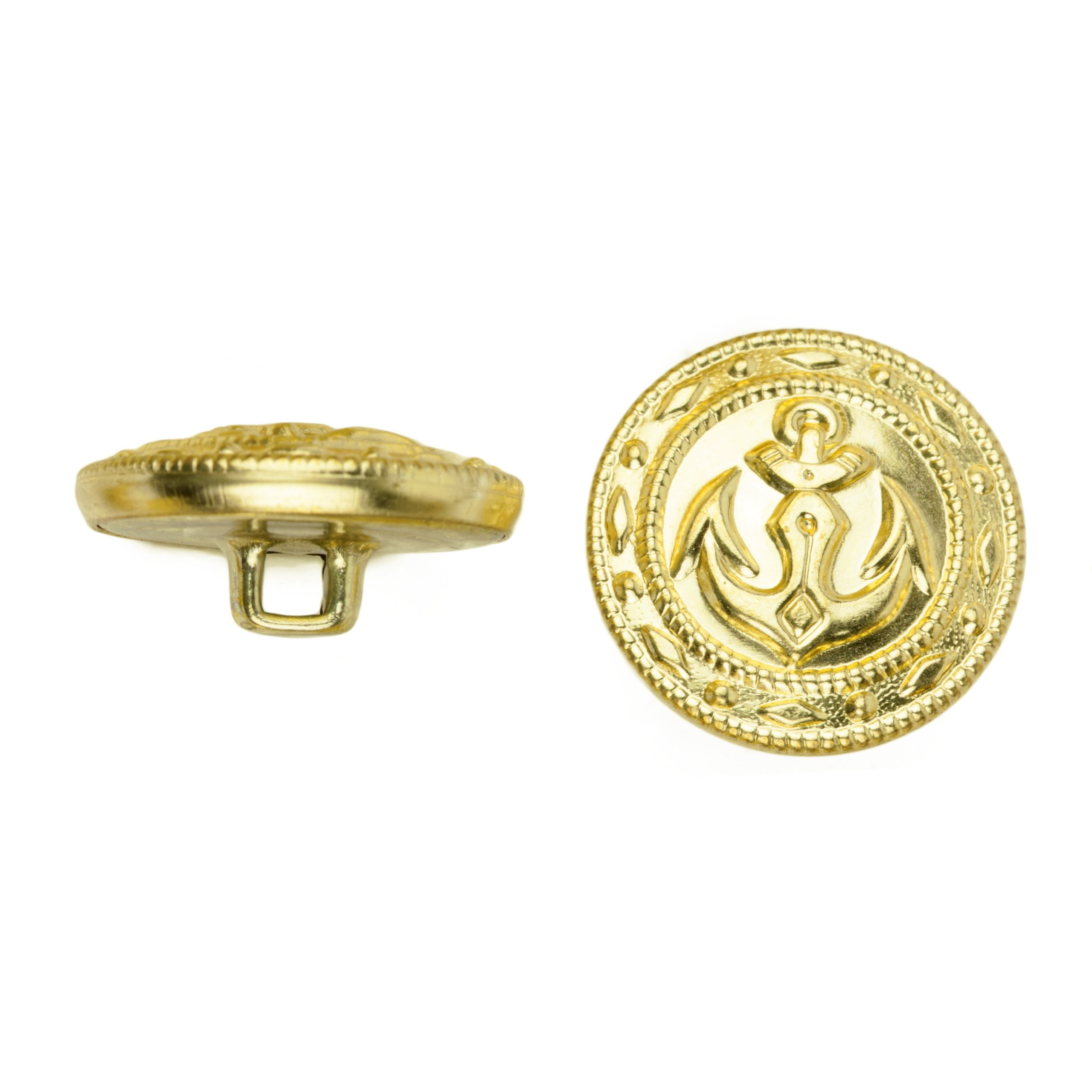 C&C Metal Products 5019 Fancy Edge Anchor Metal Button, Size 45 Ligne, Gold, 36-Pack