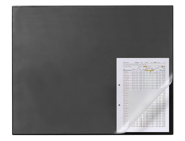 Durable 729301 Sous-main Rectangulaire avec Rebord de Protection et Rabat Transparent 65 x 50 cm Noir