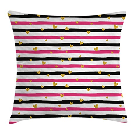 16 X 16 Inches Hot Pink Black And White Ambesonne Valentines Day Throw Pillow Cushion Cover Romantic Teenager Love Sign Hearts On Grunge Stripes Lines Decorative Square Accent Pillow Case Decorative Pillows