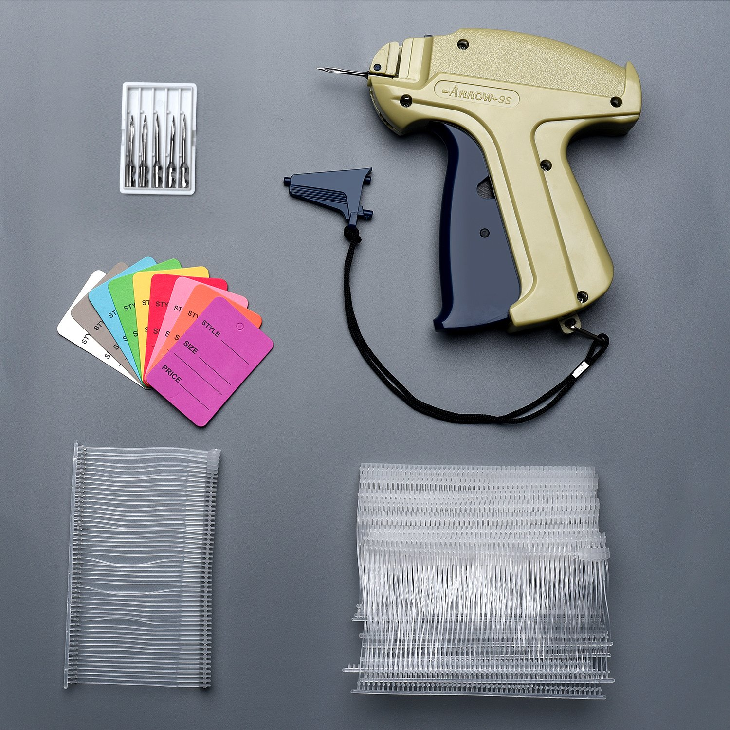 Syntrific Clothes 9S Standard Tag Gun with 1000 Piece Standard Tag Pin Easy to Load Plus 5 Piece NZ202 Needles,Plus 1000 Pieces1.1''X1.7'' Mix Color Price Tag Perfect for Consignment Sale, Family Yard
