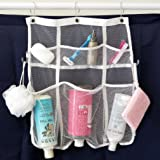 Evelots Quick-Dry Hanging Shower Caddy With Dispenser Pockets, 6 Pockets, White