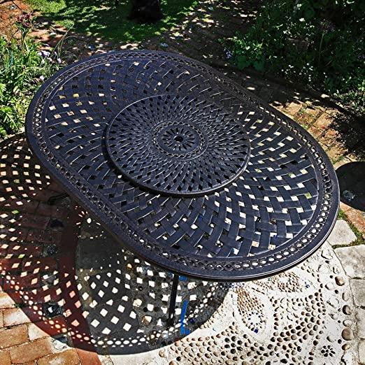Salon de jardin alu style fer forgé - Table ovale Rosemary ...