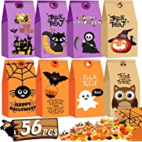 Halloween Treat Bags 56 Pcs Candy Trick Bags Goodie Party Favors Gift for Boys Girls Halloween Decorations with 60 Pcs…