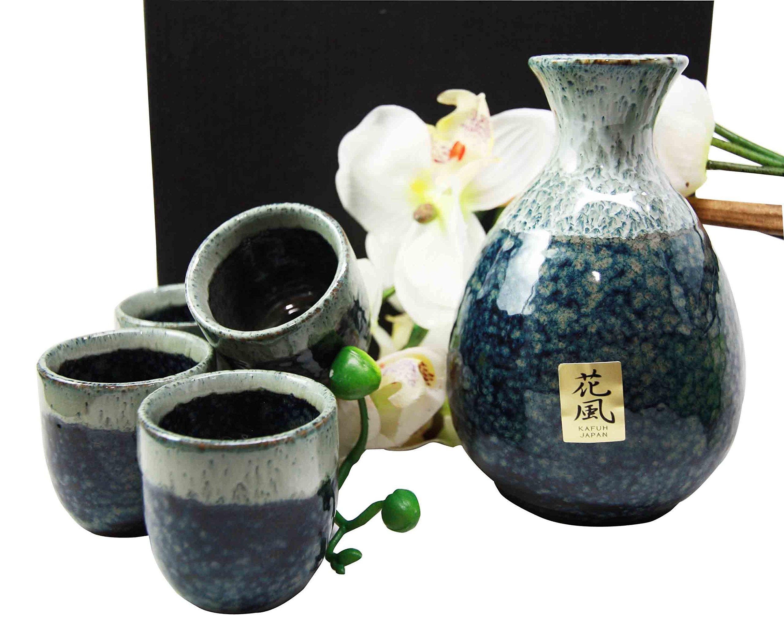 Japanese Glazed Earthenware 10oz Grey Sky Art Sake Set Flask With Four Cups