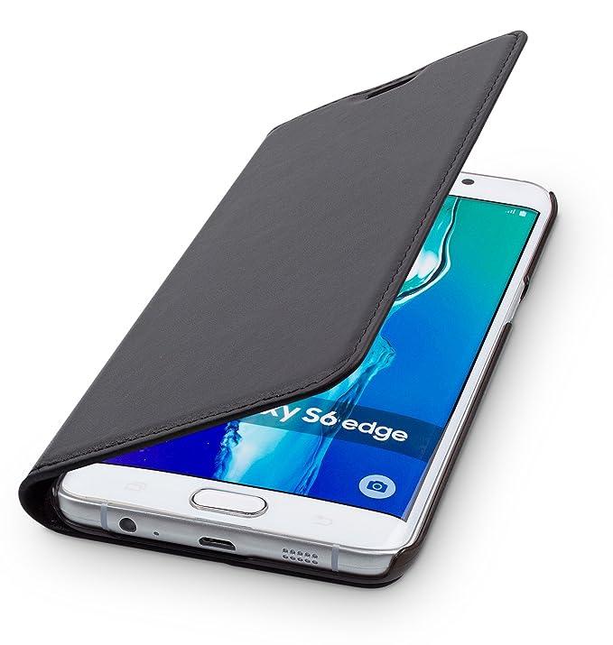 WIIUKA Echt Ledertasche - TRAVEL - für Samsung Galaxy S6 Edge mit Kartenfach, extra Dünn, Tasche Schwarz, Leder Hülle kompati