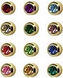 12 Pairs of Studex Ear Piercing Birthstones Gold Plated Stud Earrings Regular 4mm Bezel Setting