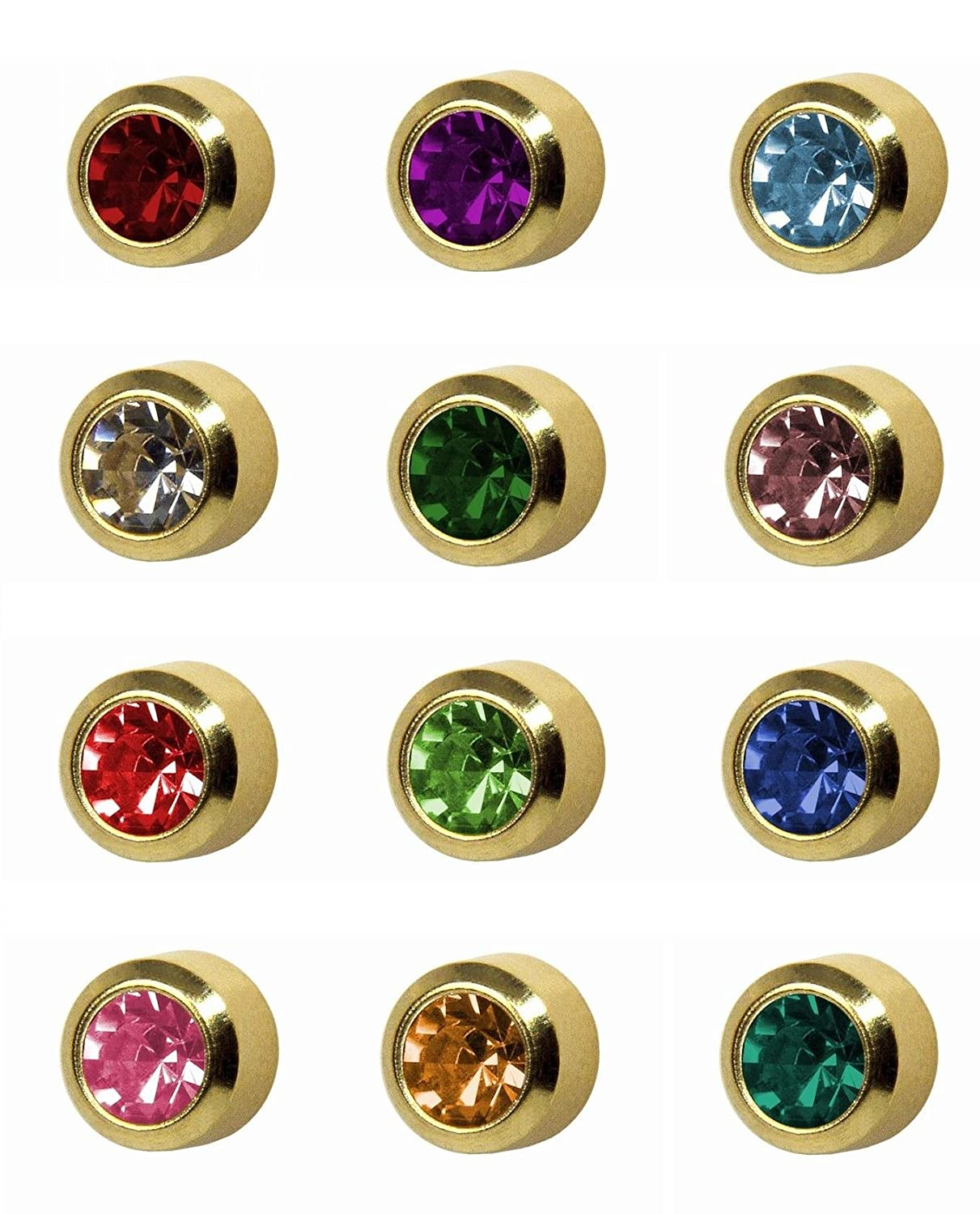 12 Pairs Of Studex Ear Piercing Birthstones Gold Plated Stud Earrings  Regular 4mm Bezel Setting