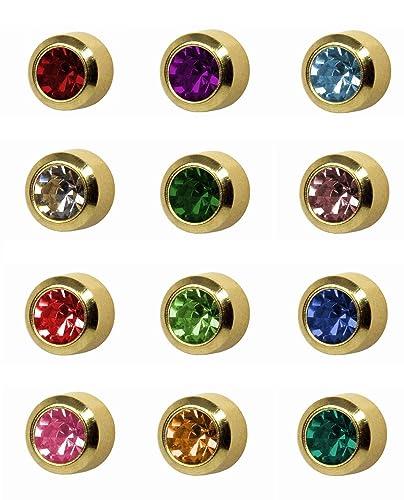 ad36fa2f9 12 Pairs of Studex Ear Piercing Birthstones Gold Plated Stud Earrings Mini 2mm  Bezel Setting: Amazon.co.uk: Jewellery