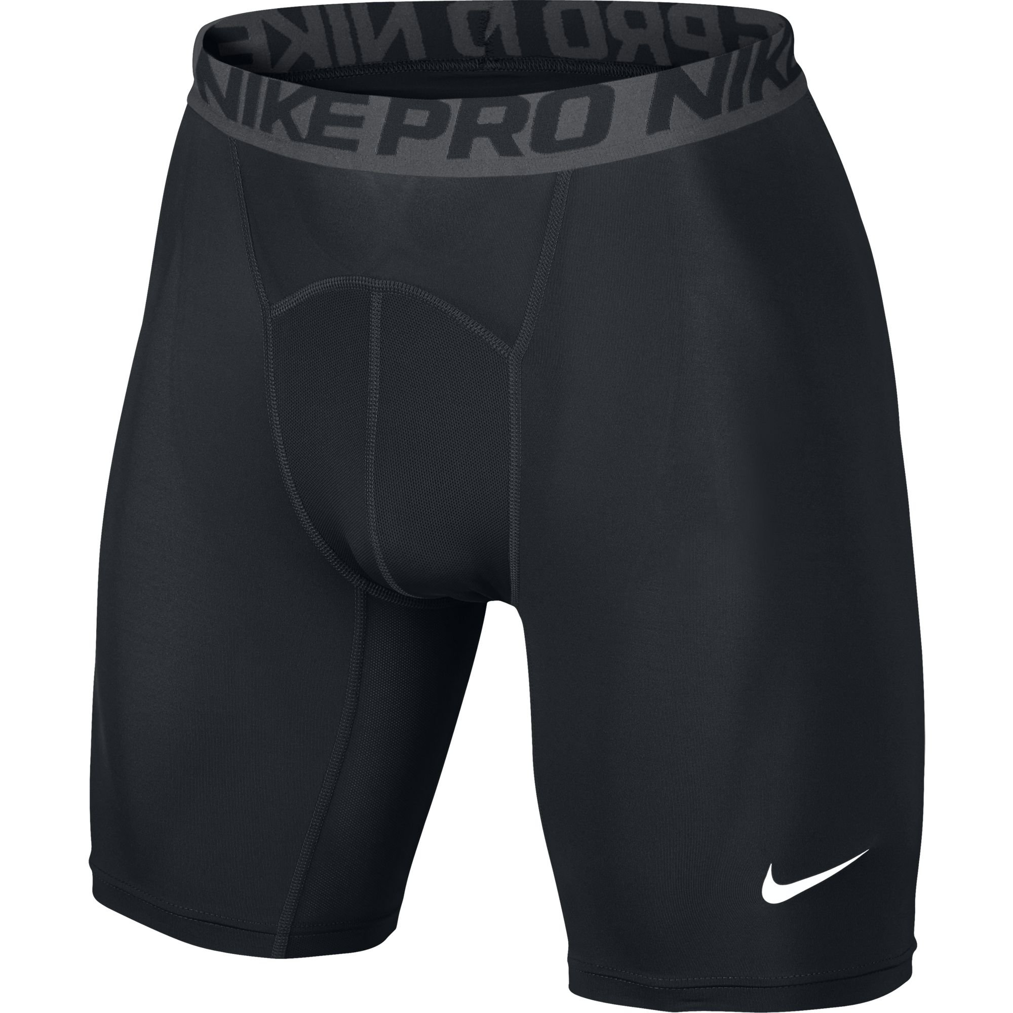 NIKE Men's Pro Shorts, Black/Dark Grey/White, Large