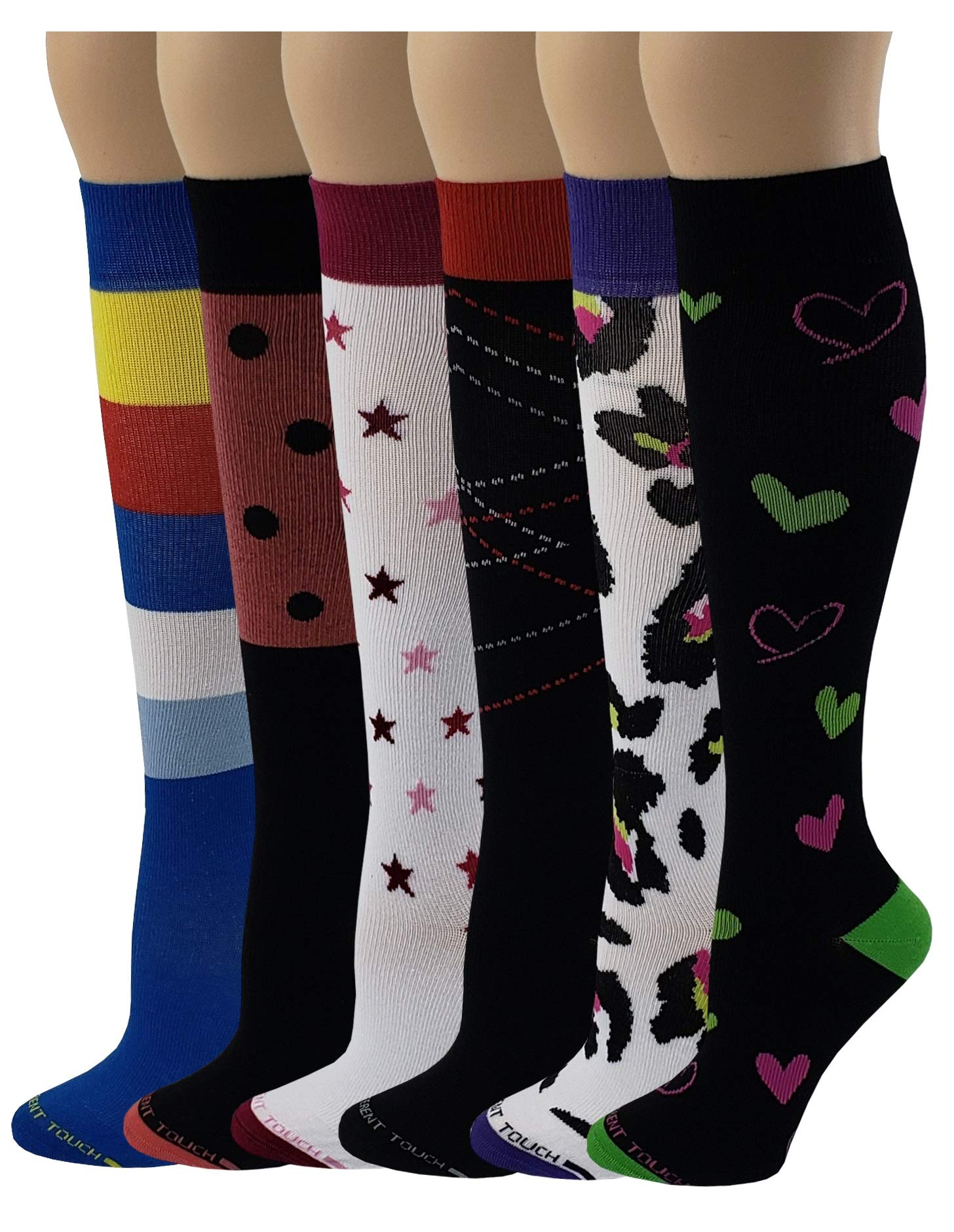 6 Pairs Pack Women Travelers, Anti-Fatigue, Graduated Compression Knee High Socks 9-11 (Assorted Printed #C)