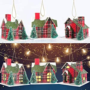Christmas House Ornaments Xmas Tree Hanging Decorations - Led Red Black Plaid House Light Up Christmas House Pendants , New Year Party Hanging Pendant Christmas Decorations Gift- 3 Pack
