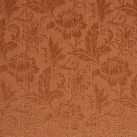 Amazon.com: Coral tono sobre tono floral y hoja Damasco tela ...