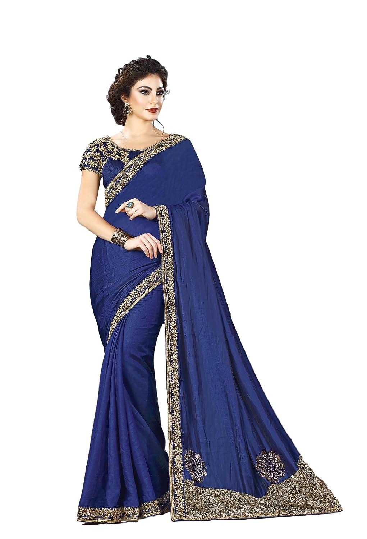 dd363b069 Amazon.com  EthnicWear Royal Blue Wedding Party Wear Indian Dual Tone Silk  Zari Embroidery Traditional Saree Sari  Clothing