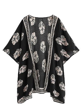 25f5d0225ab66 SweatyRocks Women's Swimwear Kimono Vintage Floral Beach Cover Up Black ...