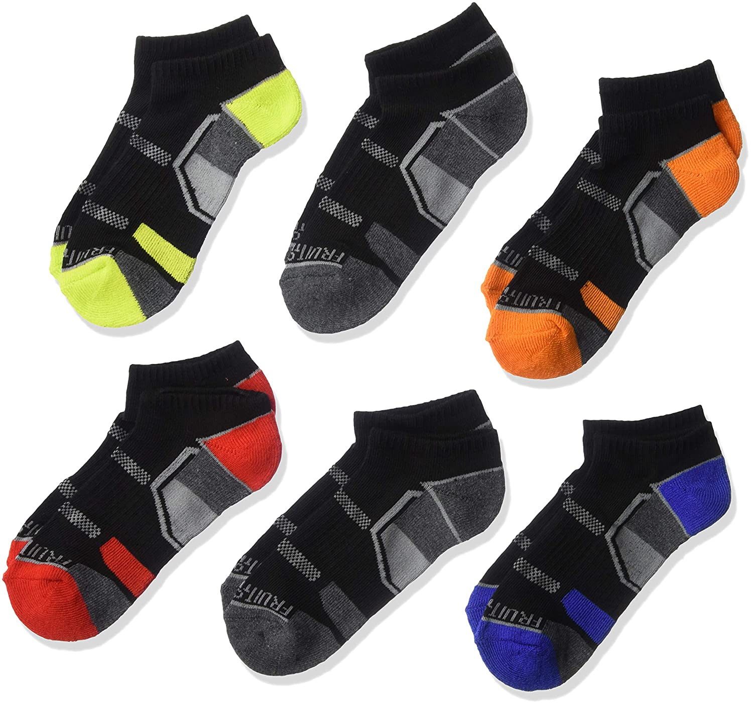 Fruit of the Loom Boys 6 Pack No Show Eveyday Active Socks