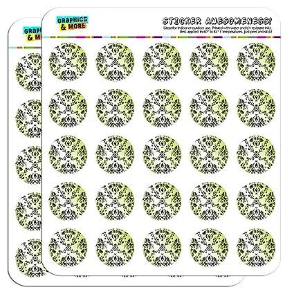Diseño damasco negro y Verde carcasa 2,5 cm manualidades ...