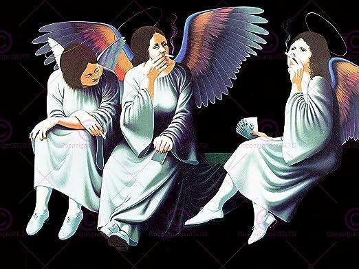 Music Album Cover Black Sabbath Heaven Hell Smoking Angels Large Print Poster