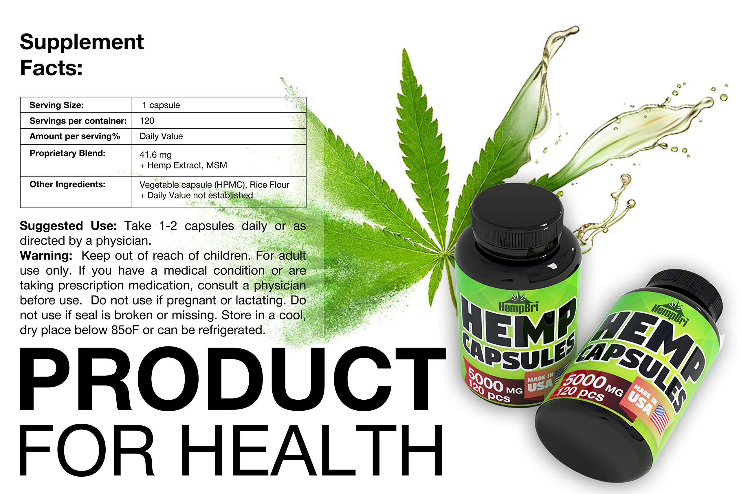 Hemp Oil Extract Capsules For Pain Relief & Anxiety Best Joint Support your Health & Sleep Supplement Pill Tablets Immune and Mood Anti Inflammatory Natural Organic Hemp Seed Oils Pure Powder by Hempr