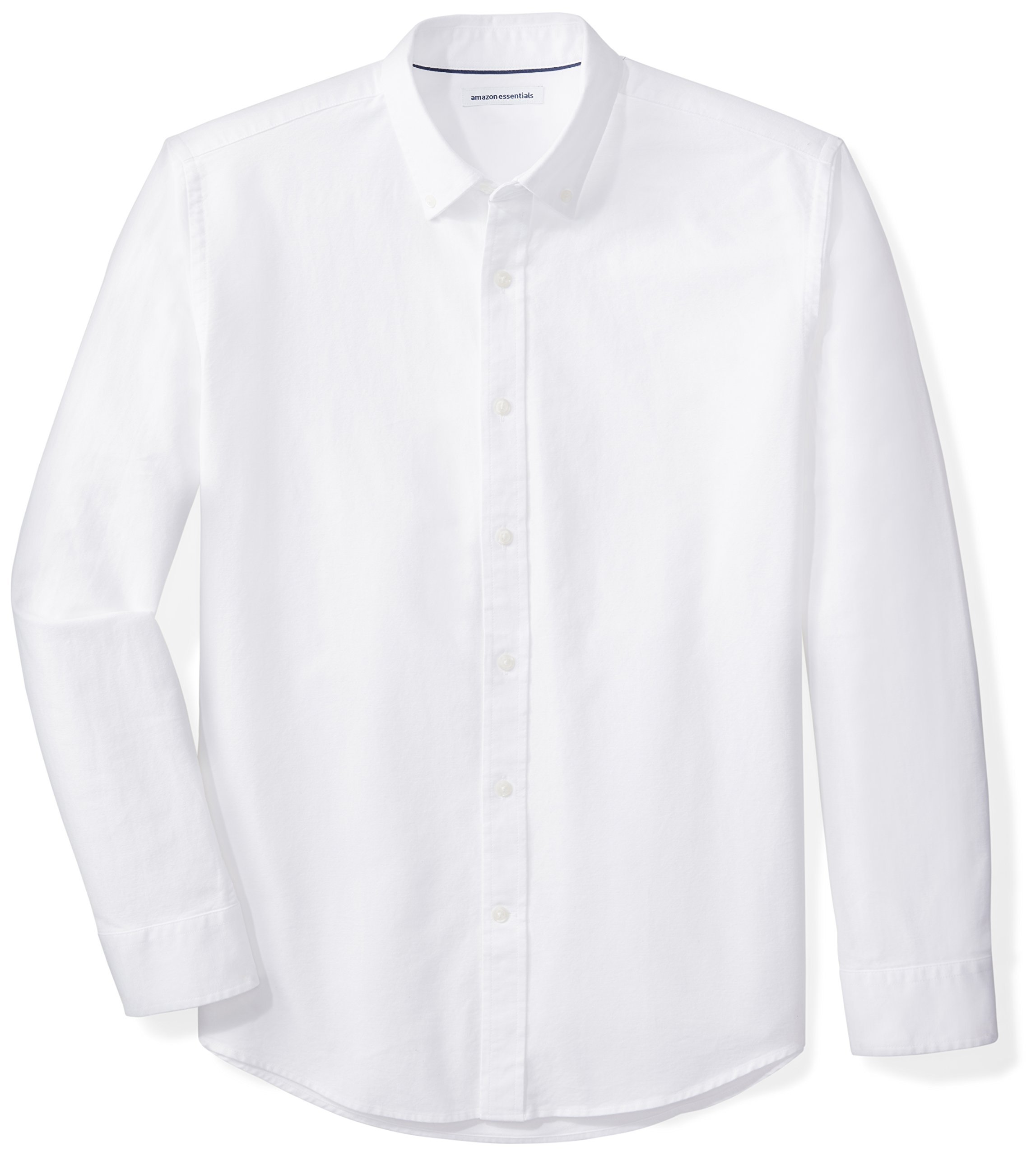 Amazon Essentials Men's Regular-Fit Long-Sleeve Solid Oxford Shirt, White, Large