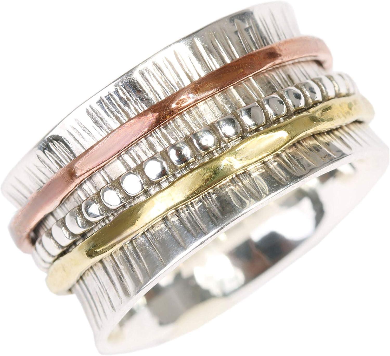 Plata de ley - Modelo UK60 Energy Stone Preciosa imperfecci/ón Anillo de meditaci/ón Con aros giratorios a su alrededor