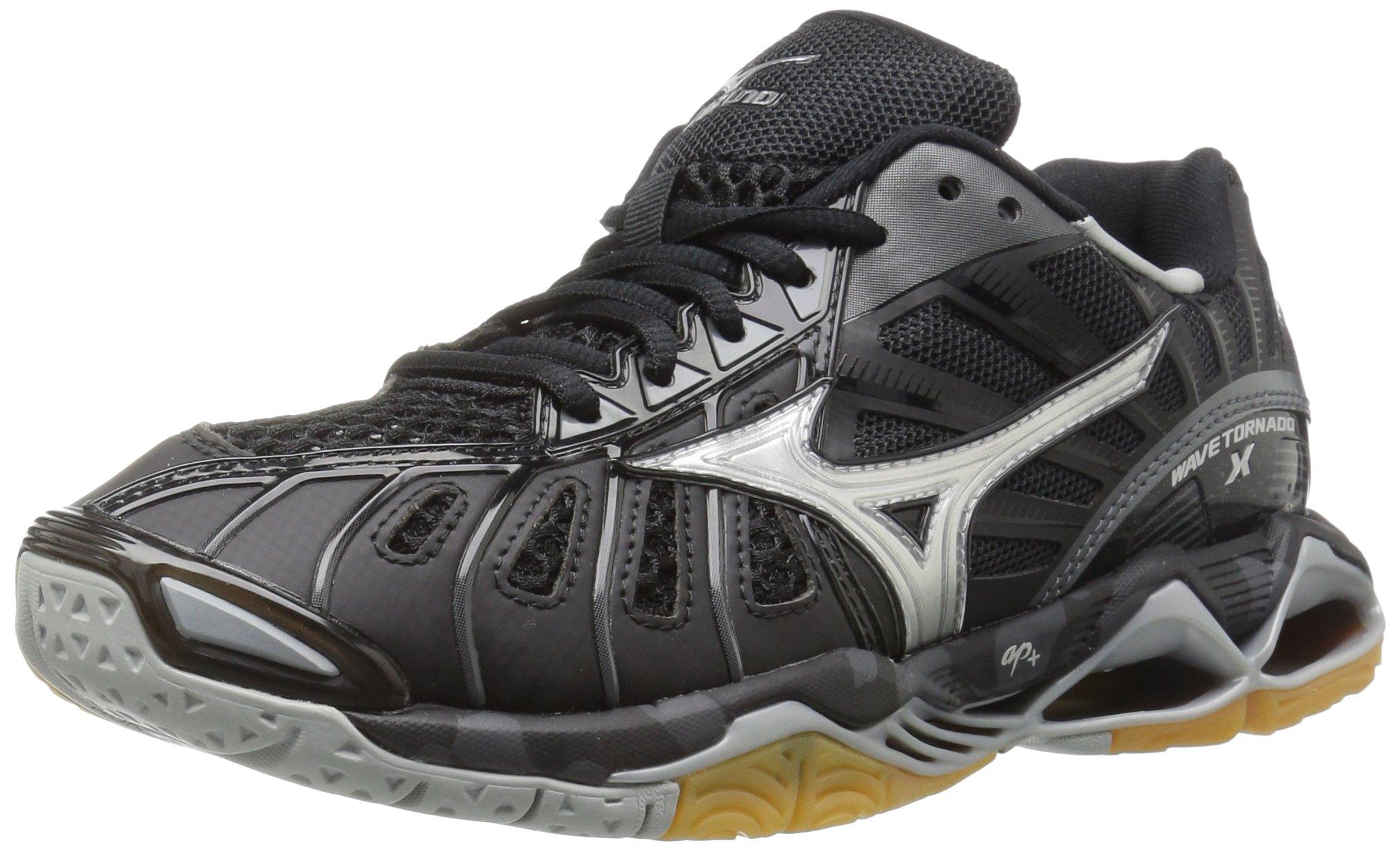 Mizuno Wave Tornado X Womens Volleyball Shoes, Black/Silver 6 B US
