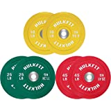 HulkFit Color Coded Olympic 2-Inch Rubber Bumper Plate with Steel Hub for Strength Training, Weightlifting and Crossfit, Sing