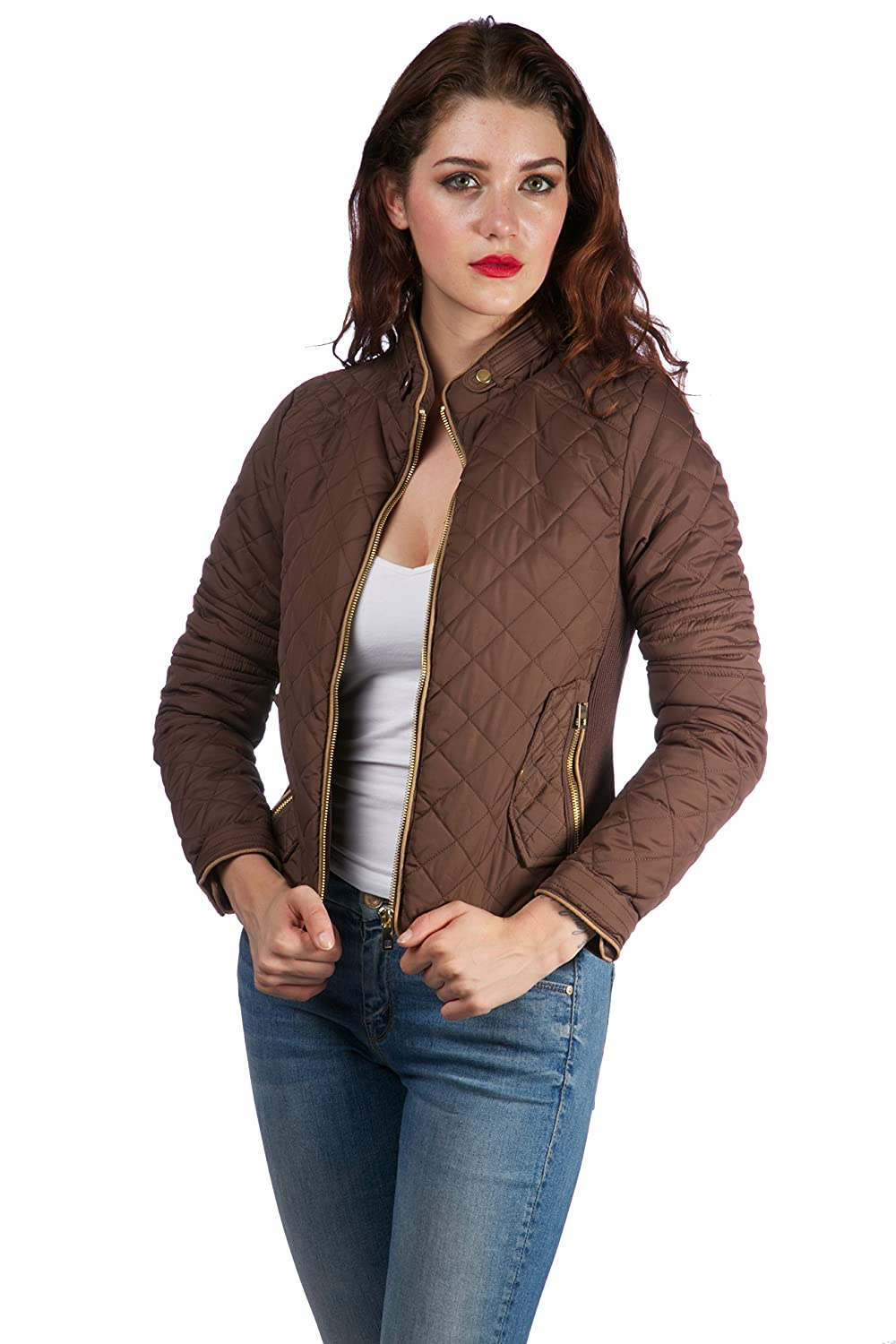 Hollywood Star Fashion Women's Long sleeves quilted coat Zip up bomber jacket