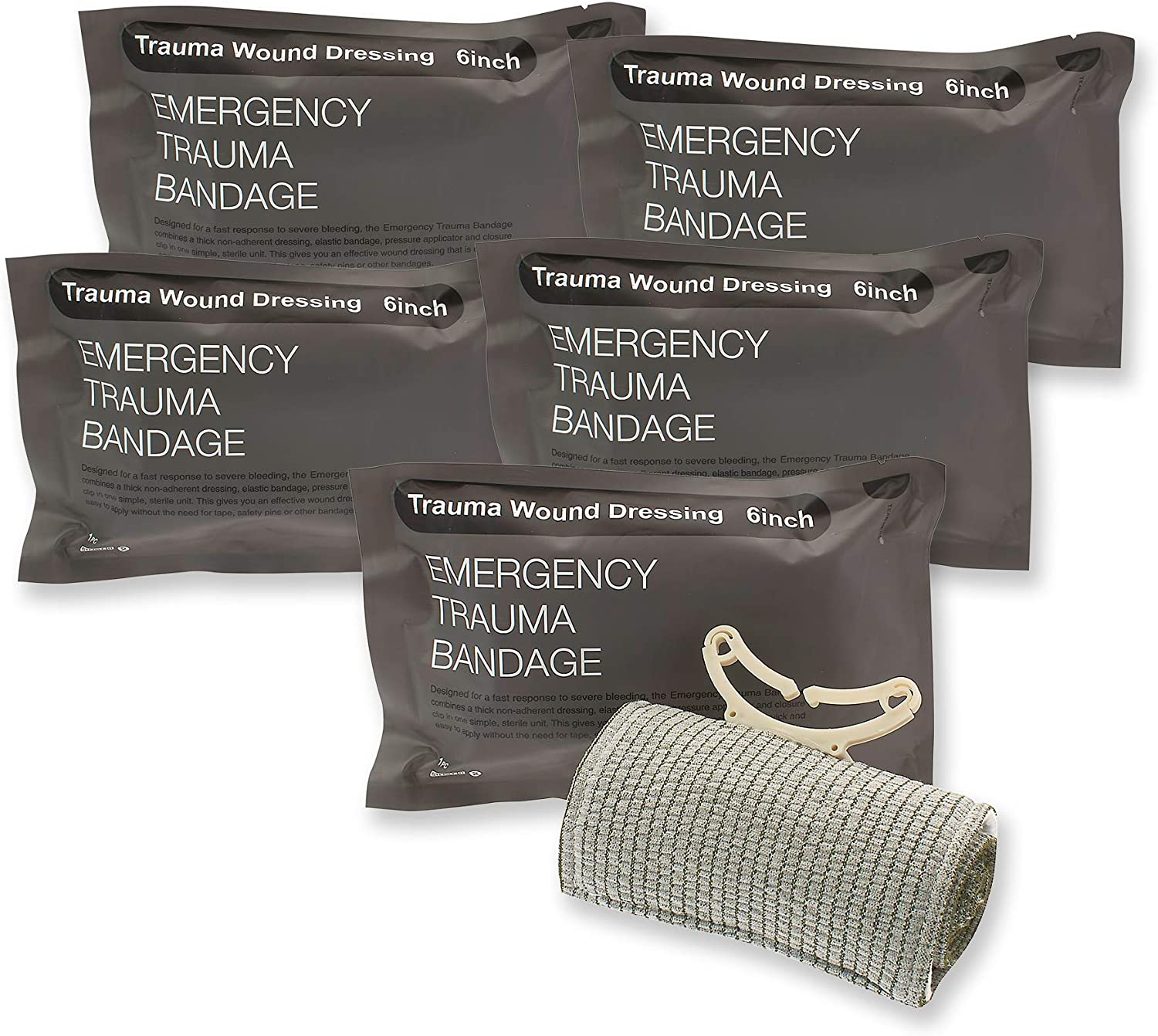 "5 Pieces Trauma Bandage 6"" Emergency Military Style Battle Wound Dressing First Aid IFAK Stop The Bleed Israeli Bandage Wrap"