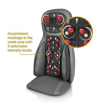 Medisana MC 826 Shiatsu Funda de asiento de masaje, con acupresión y masaje de golpecitos, ajustable para el cuello, 3 intensidades, función de ...