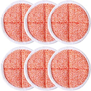 Tomkity 6 Pack Heavy Scrub Mop Pads Replacement for Bissell Spinwave 2039A 2124 (Orange)