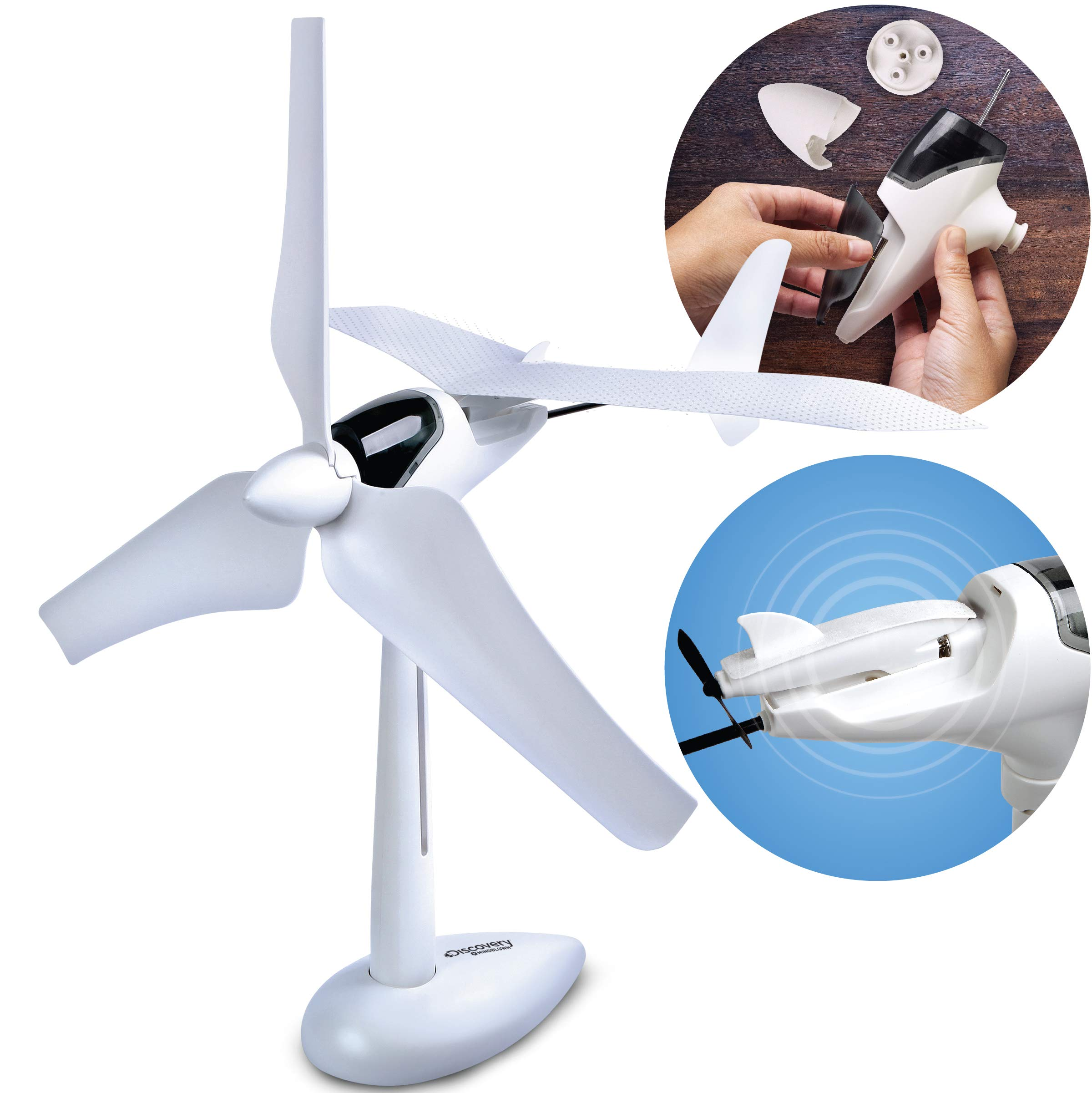 Discovery Kids Mindblown Wind Turbine Glider Kit, STEM Science Experiment for Boys and Girls, Fun Home Engineering Project, Green Energy Powers Soaring Motorized Glider, Battery-Free + LED Lights