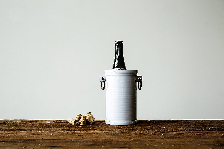 Creative Co-Op DA7032 White Terracotta Wine Cooler with Metal Handles