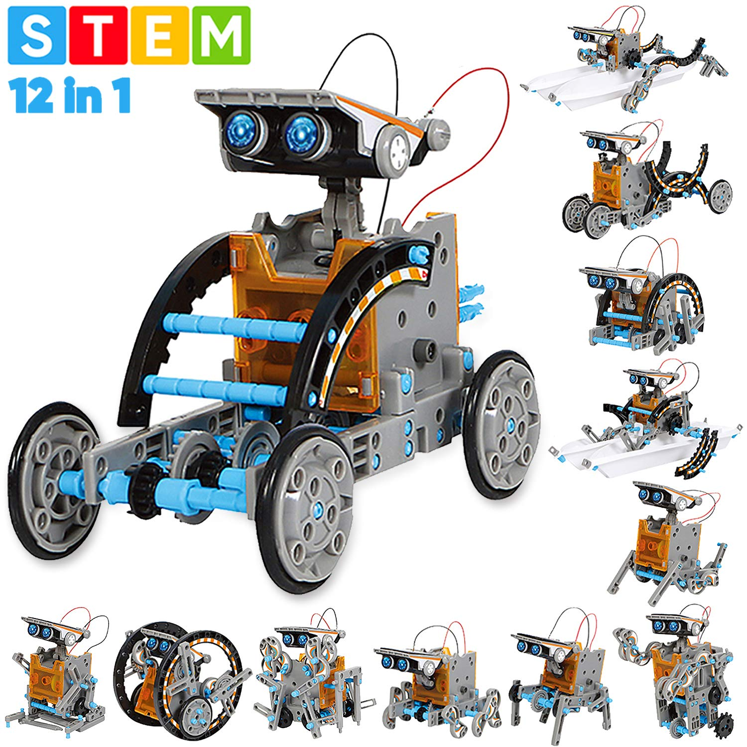 Sillbird STEM 12-in-1 Education Solar Robot Toys -190 Pieces DIY Building Science Experiment Kit for Kids Aged 8-10 and Older,Solar Powered by The Sun by Sillbird