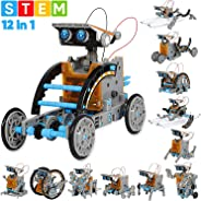 Sillbird STEM 12-in-1 Education Solar Robot Toys -190 Pieces DIY Building Science Experiment Kit for Kids Aged 8-10 and Olde