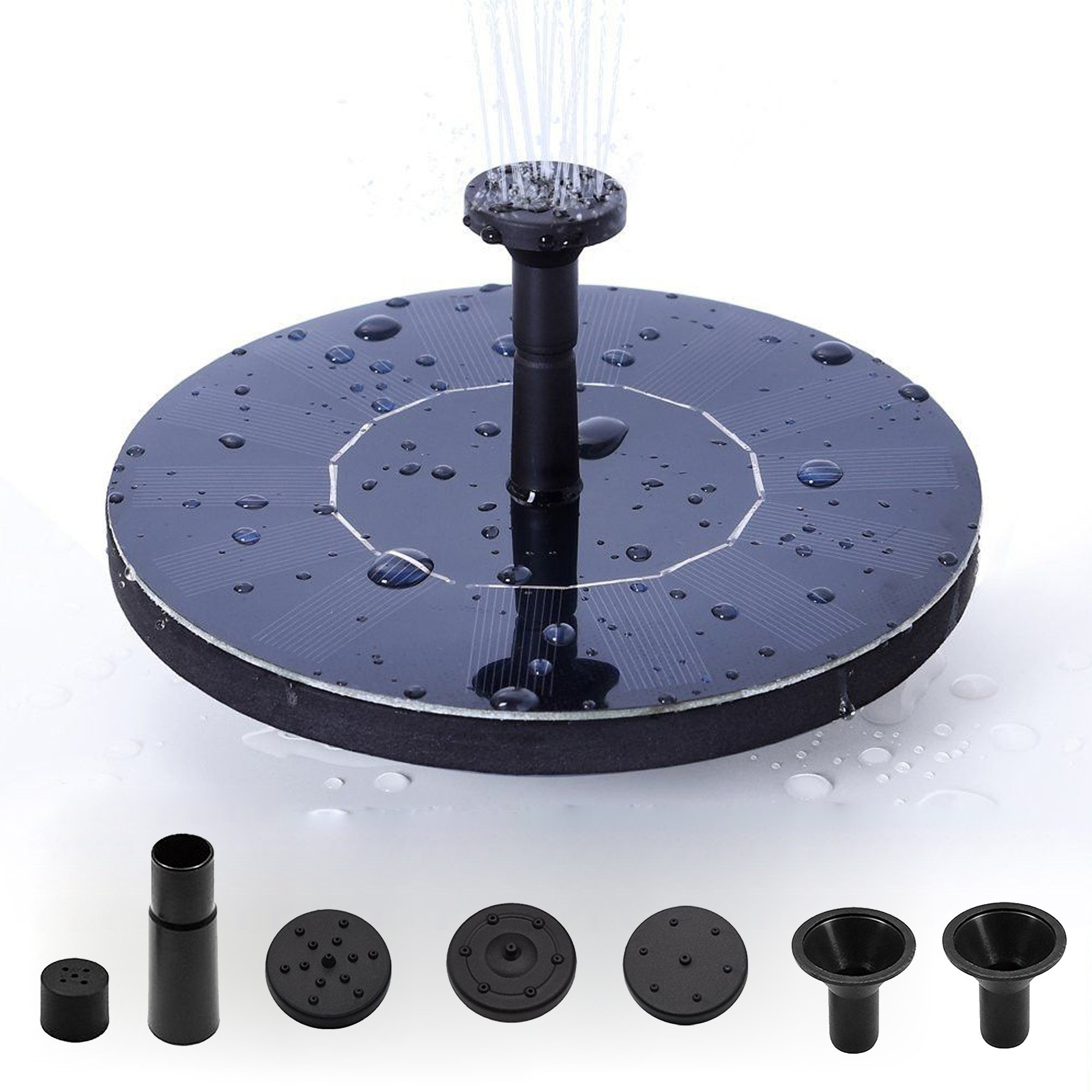Solar Panel Water Floating Pump Kit, Brushless Solar Powered Water Pump Fountain Pond, Floating Solar Bird Bath, Self-Powered Pond Fountain With Different Spray Heads for Pond, Pool, Garden