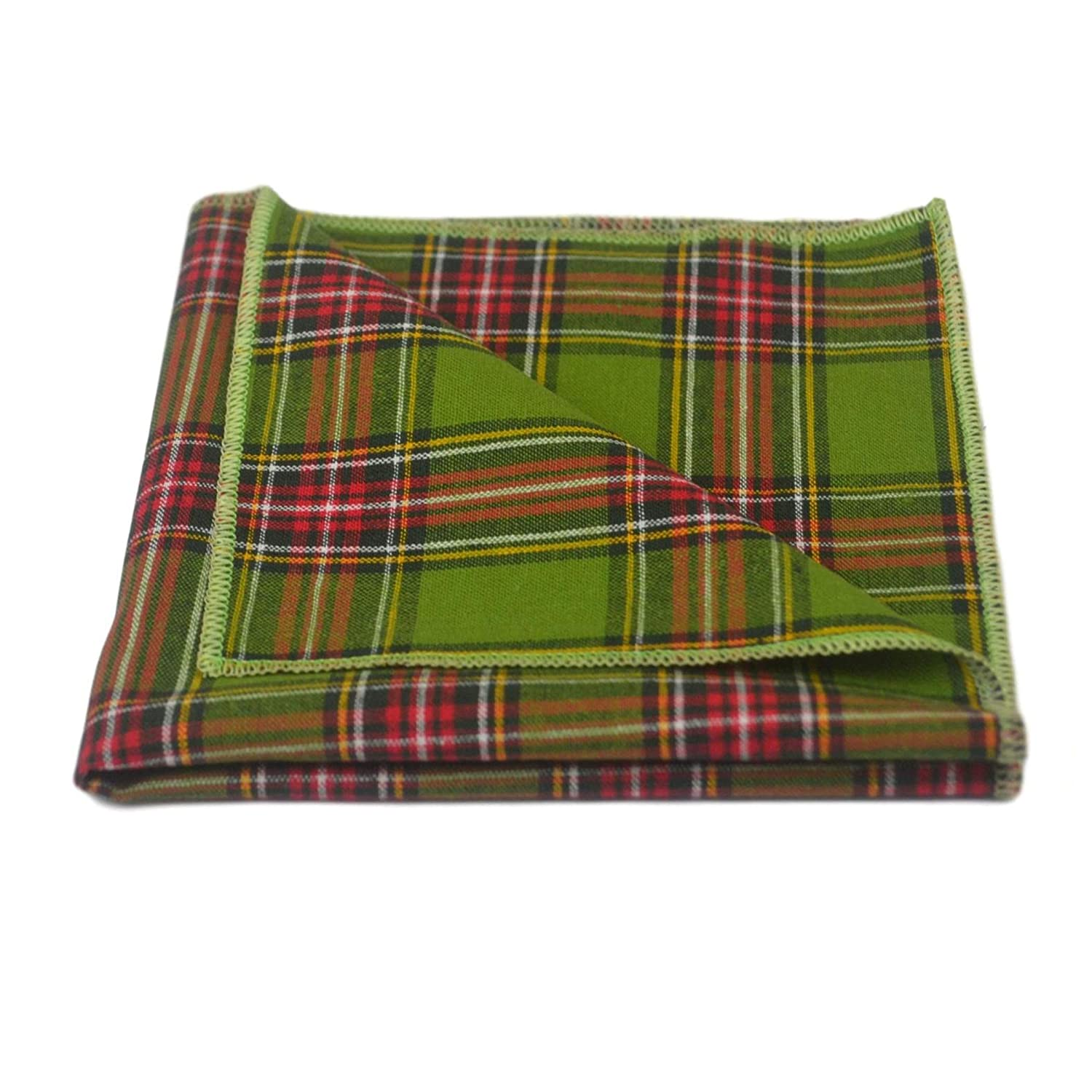 King & Priory Traditional Pochette A Quadri Scozzesi Tartan Verde, Fazzoletto