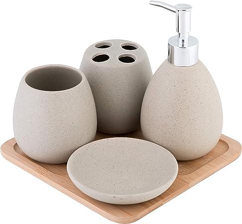 Accessori Bagno In Ceramica.Axentia Avignon Set Accessori Bagno Ceramica Marrone Ca 23 X 30 X 11 Cm 5 Unita Amazon It Casa E Cucina