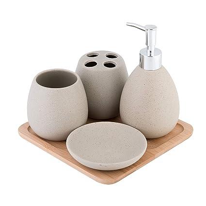 Arredo Bagno In Ceramica.Axentia Avignon Set Accessori Bagno Ceramica Marrone Ca 23 X 30 X 11 Cm 5 Unita