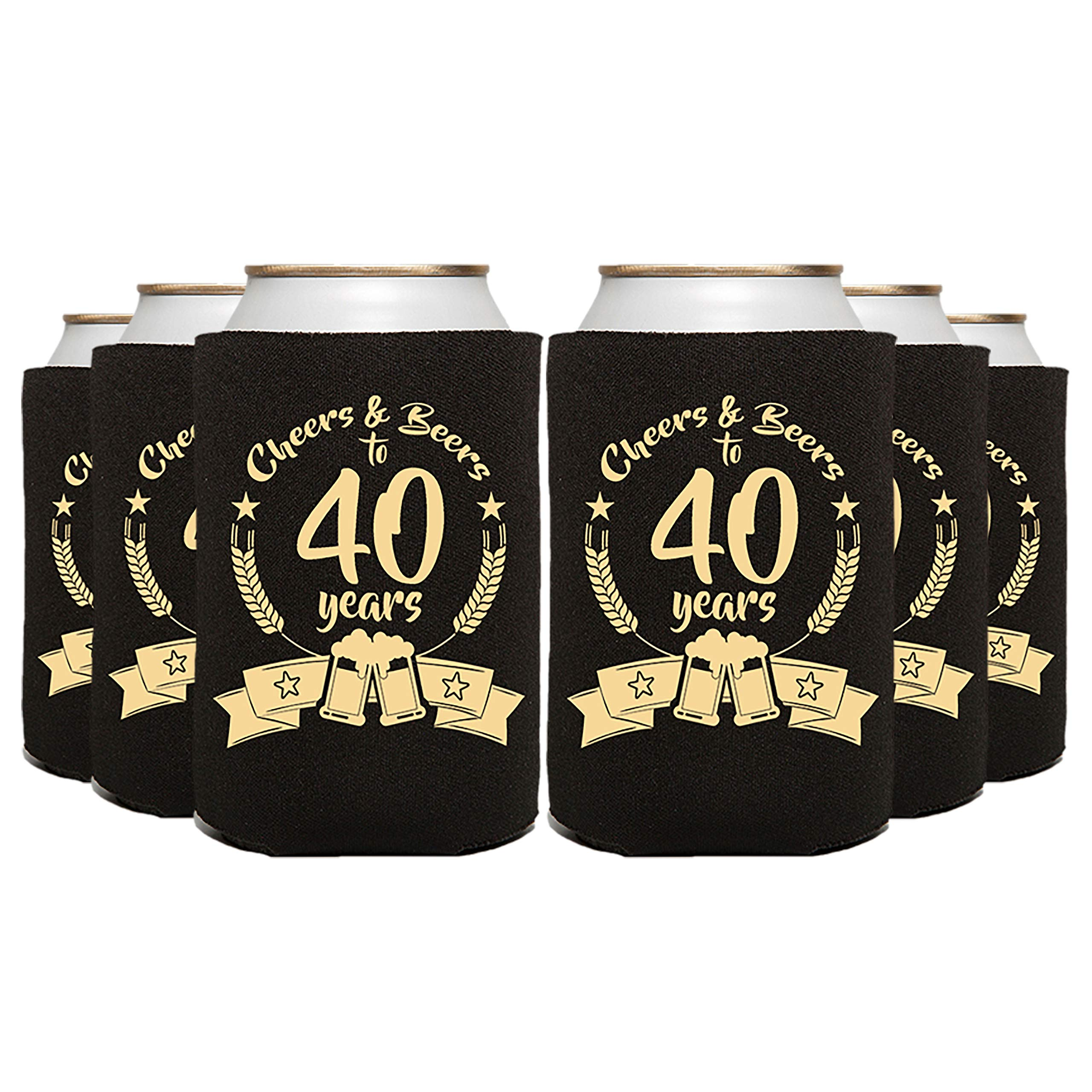 ELEPHIELD Cheers & Beers to 40 Years Party Favor Can Cooler, 48 Pc, Black