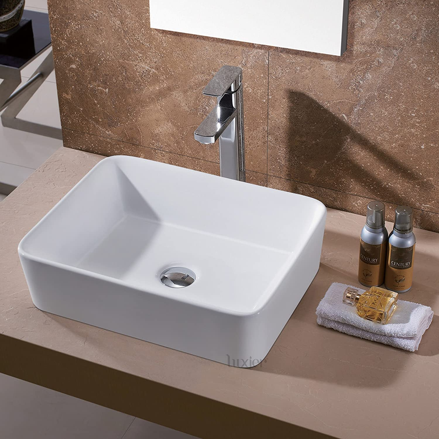 Luxier CS Bathroom Porcelain Ceramic Vessel Vanity Sink Art - Bathroom drain