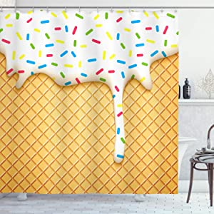 """Ambesonne Food Shower Curtain, Cartoon Like Image of and Melting Ice Cream Cones Colored Sprinkles Print, Cloth Fabric Bathroom Decor Set with Hooks, 70"""" Long, Yellow White"""