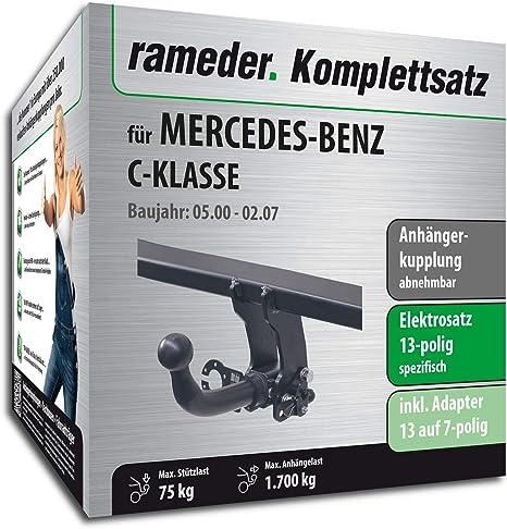rameder Juego completo, remolque extraíble + 13POL Elektrik para Mercedes- Benz Clase C (