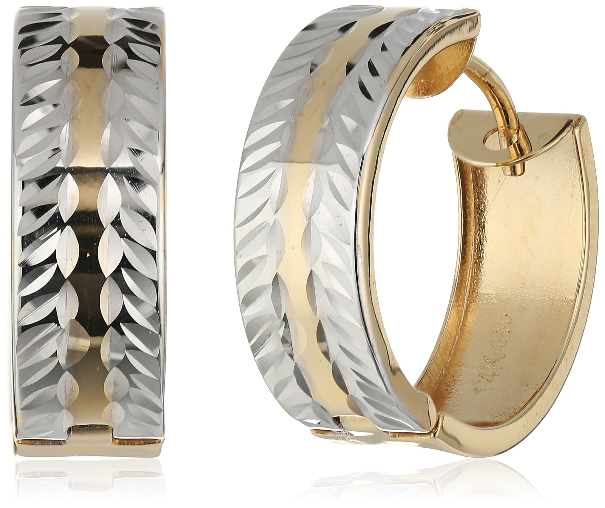 Two-Tone 14k Yellow and White Gold Huggie Hoop Earrings