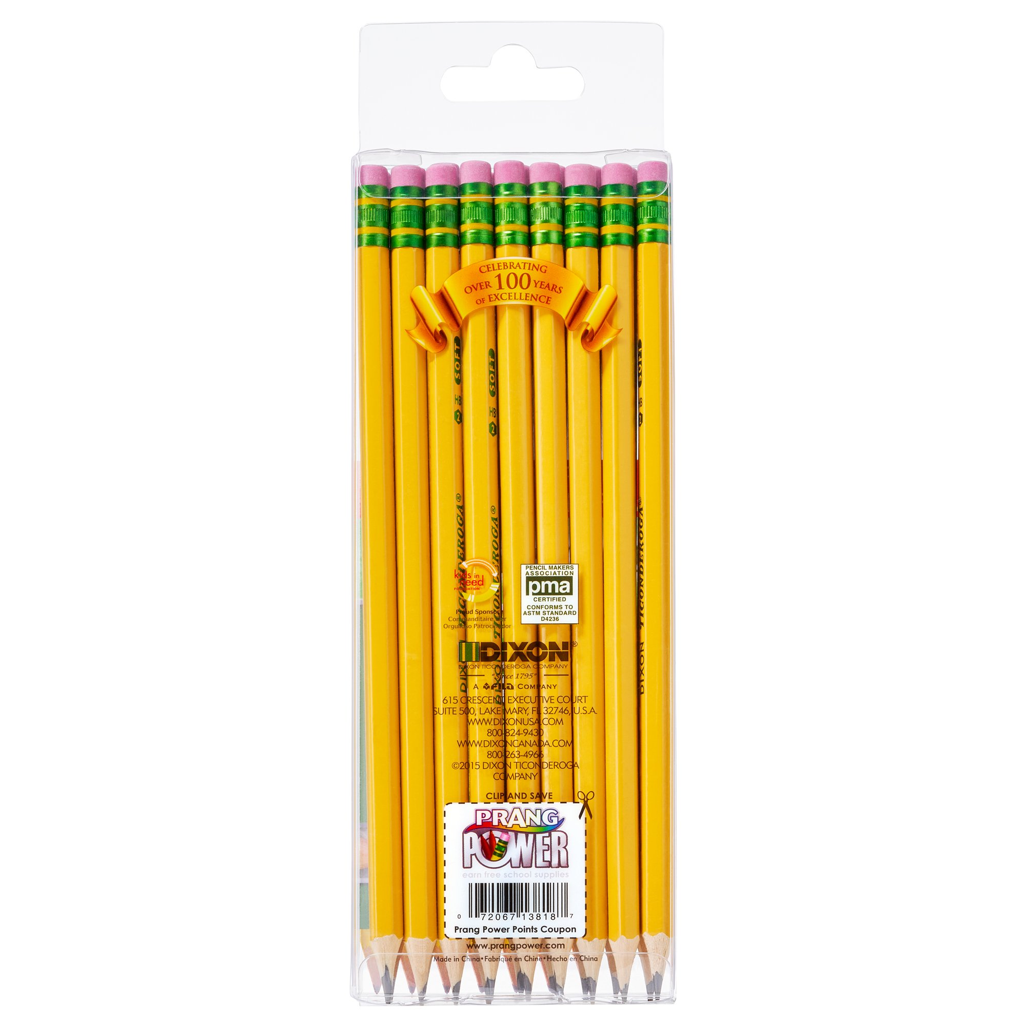 Ticonderoga Wood-Cased Graphite Pencils, #2 HB Soft, Pre-Sharpened, Yellow, 18 Count (13818) by Dixon (Image #3)