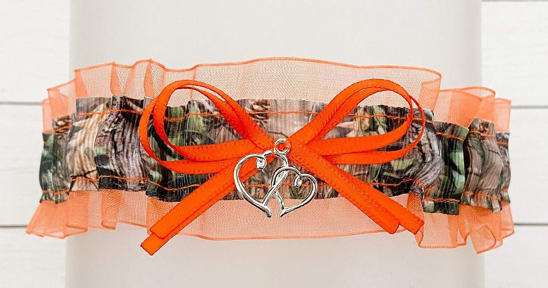 Double Heart Charm Camouflage Orange Organza Sheer Wedding Keepsake Bridal Garter