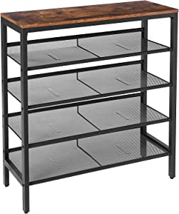 HOOBRO Shoe Rack, 5-Tier Shoe Storage Unit Flat & Slant Adjustable Shoe Organizer Shelf for 16 Pairs, Durable and Stable, for Entryway, Hallway, Closet, Dorm Room, Industrial, Rustic Brown BF01XJ01